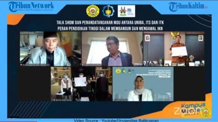 "Webinar dan Talkshow bertema ""Peran Pendidikan Tinggi Dalam Membangun dan Mengawal IKN"" yang digelar Universitas Balikpapan, Jumat (28/5/2021)."