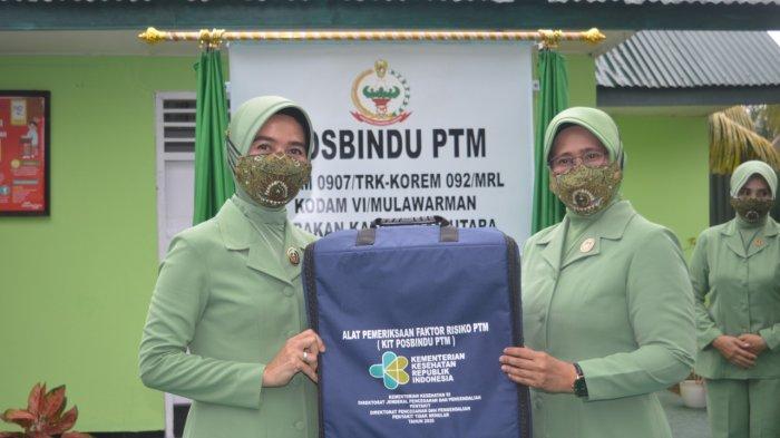 Ketua Persit KCK Koorcab Rem 092 PD VI/Mulawarman Resmikan Posbindu PTM Kodim 0907/Tarakan