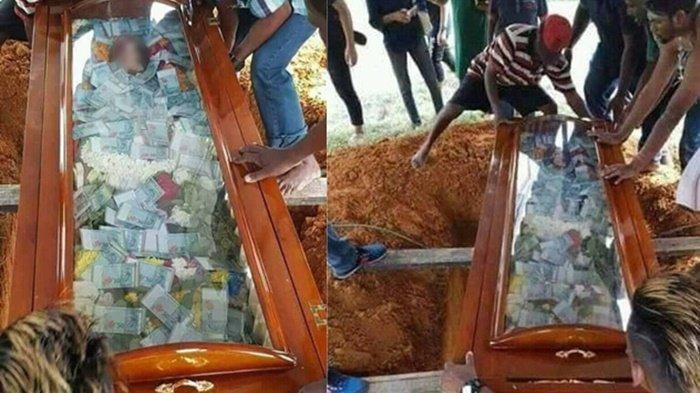 Peti Jenazah Dipenuhi Uang Sebelum Dikebumikan Ini Viral di Medsos, Tunjukkan Harta Dibawa Mati?