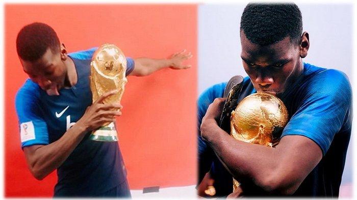 Paul Pogba Sindir Inggris, Timang Trofi Piala Dunia Sambil Menyanyikan Lagu It's Coming Home