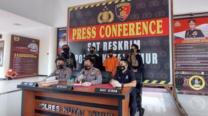 Polres Kutim menggelar konferensi pers kasus rudapaksa di Kecamatan Sangatta Utara, Kabupaten Kutai Timur.