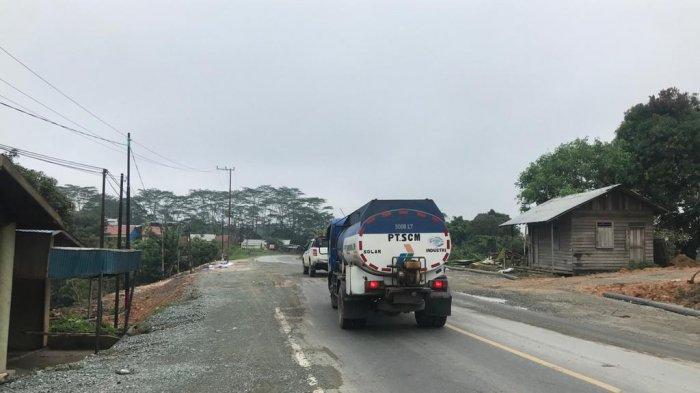 Jalan Poros Samarinda-Balikpapan Km 7 yang Sempat Amblas Diperbaiki Semi Permanen, Menunggu Lelang