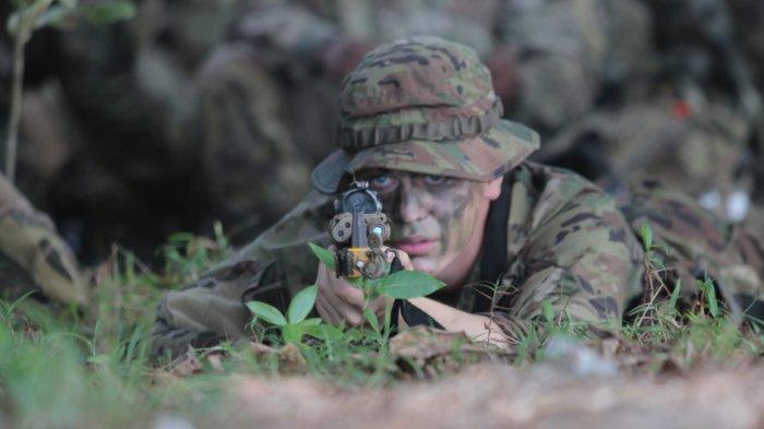 Prajurit US Army saat Latihan Bersama (Latma) Garuda Shield ke-15 tahun 2021 antara TNI AD dengan US Army mulai digelar Kamis (5/8/2021).