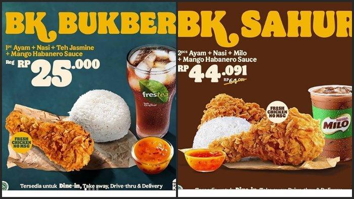 KATALOG PROMO Burger King Kamis 15 April 2021, 2 Ayam, Nasi, Milo & Manggo Habanero Sauce Rp 44.091