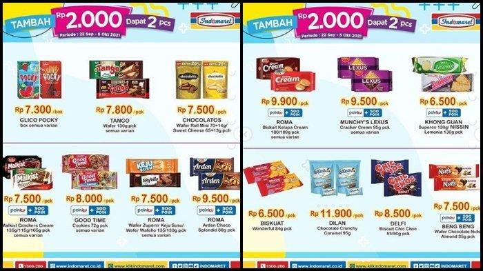 Promo Indomaret Hari ini Selasa 5 Oktober 2021, Belanja Snack Makin Hemat, Tambah Rp 2.000 Dapat 2