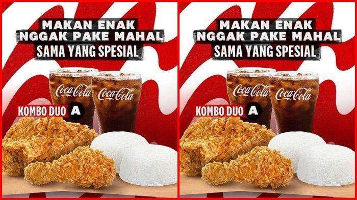 Promo KFC Hari ini Senin 13 September 2021, 2 Ayam, 2 Nasi dan 2 Minum Super Murah, Hanya Rp 50.000