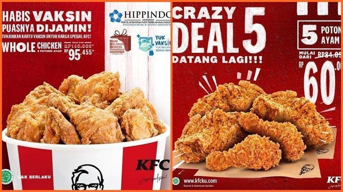Promo KFC Hari ini Senin 23 Agustus 2021, Dapatkan Harga Spesial dengan Menunjukan Kartu Vaksin