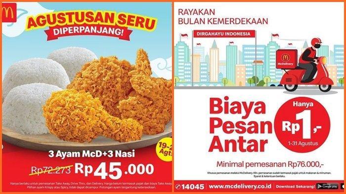 Promo McD Hari ini Sabtu 21 Agustus 2021, Makan Hemat Akhir Pekan, Beli 3 Ayam dan 3 Nasi Rp 45.000