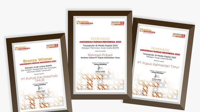 Pupuk Kaltim Raih 3 Penghargaan Anugerah Humas Indonesia 2021
