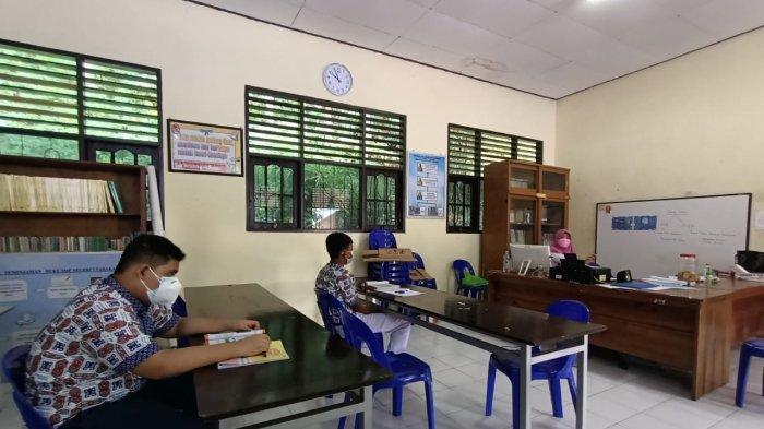 Pembelajaran Tatap Muka di SMPN 7 Tarakan, Satu Kelas Ada yang Hanya Diisi 2 Siswa