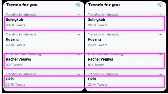 Rachel Vennya, Okin, dan selingkuh trending topic Twitter, Rabu 3 Februari 2021