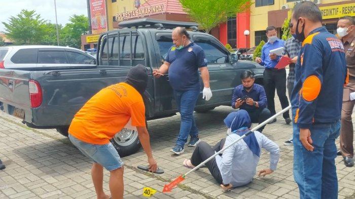 Rekonstruksi Pembunuhan Juwana Wanita Asal Kutim, Korban Sempat Meretakkan Kaca Depan Mobil