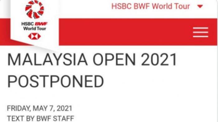 RESMI Malaysia Open 2021 Ditunda, Tersisa Singapore Open 2021 untuk Perhitungan Poin Olimpiade Tokyo