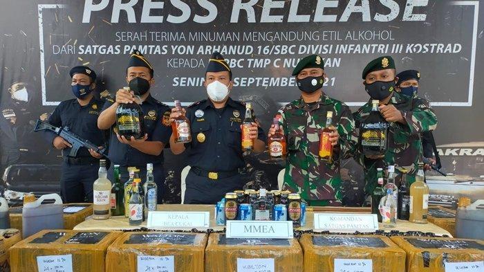 Bea Cukai Nunukan Terima Barang Bukti Ribuan Miras Ilegal, Hasil Operasi Satgas Yonarhanud 16/SBC