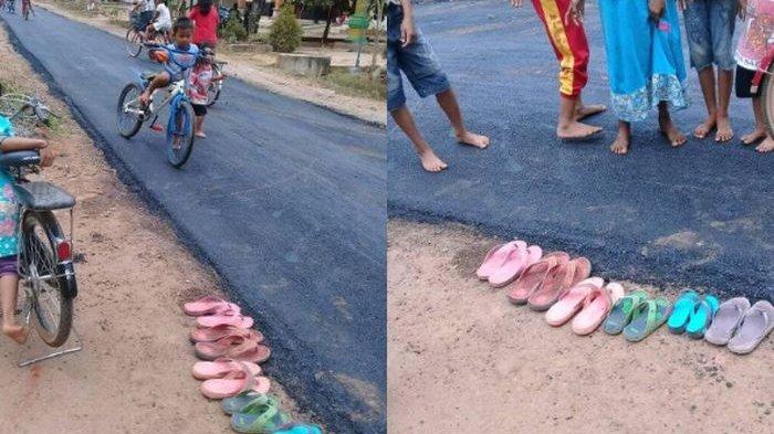 Saking Senangnya Bocah-bocah Ini Lepas Sendal Bermain di Jalan Aspal yang Baru Dibangun