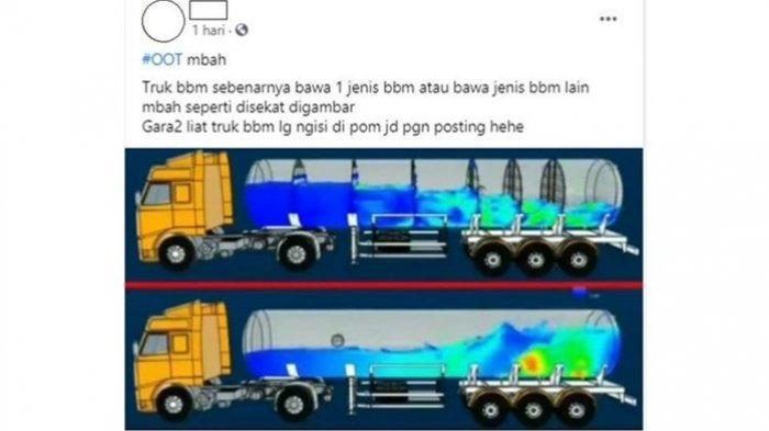 Sebuah unggahan dengan narasi pertanyaan apakah truk tangki Pertamina hanya membawa satu jenis BBM atau membawa jenis BBM yang lain viral di media sosial