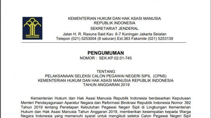 Link Pengumuman Hasil SKD CPNS Kemenkumham dan Kemenag, Pelaksanaan SKB Dipastikan Ditunda