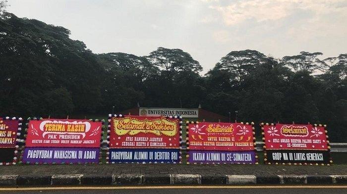 KATA-KATANYA Unik, Kampus Universitas Indonesia Dibanjiri Karangan Bunga untuk Rektor UI Ari Kuncoro