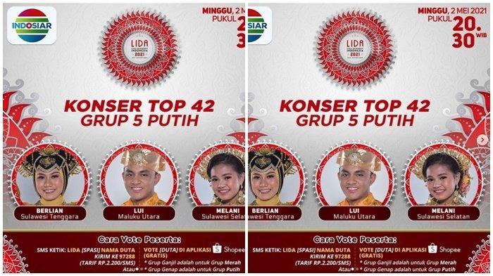 Siapa Tersenggol Malam Ini? LIDA 2021 Top 42 Grup 5 Putih, SMS Tertinggi, Live Streaming Indosiar