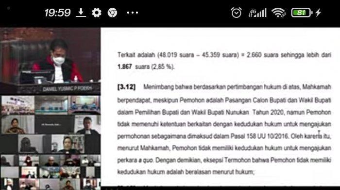 Tok! Hakim MK Menolak Petitum Dani Iskandar-Muhammad Nasir di Pilkada Nunukan, Ini Alasannya