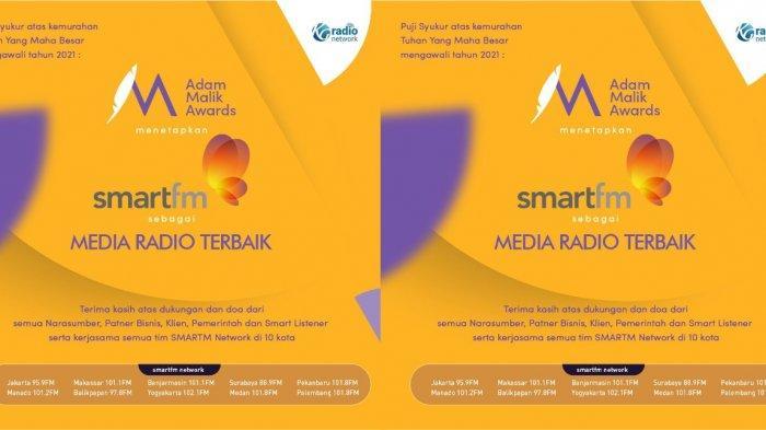 Smart FM Raih Penghargaan Adam Malik Awards 2021, Kategori Radio Terbaik