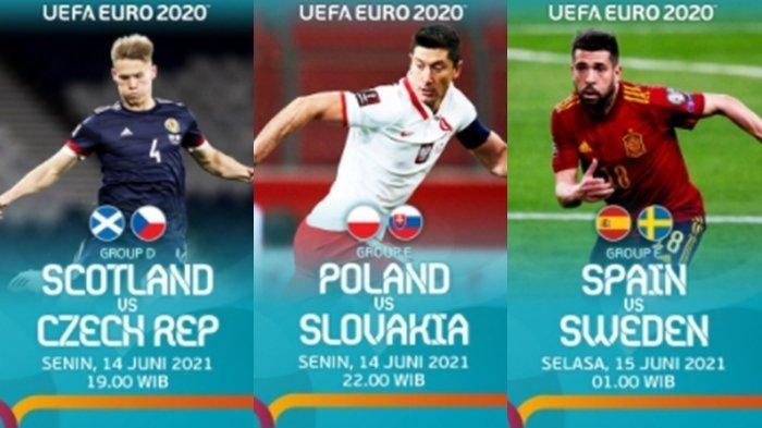 Jadwal Siaran Langsung EURO 2020 Malam Ini, 3 Laga Seru di Grup D dan Grup E, Live Streaming RCTI