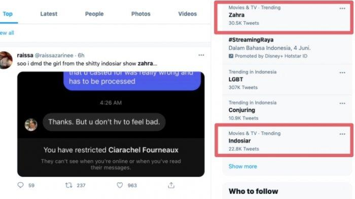 Suara Hati Istri: Zahra jadi trending topic Twitter.