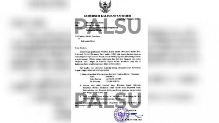 Beredar Surat Palsu Atas Nama Gubernur Kaltim, Minta Perusahaan Bantu Dana Pengamanan Pilkada