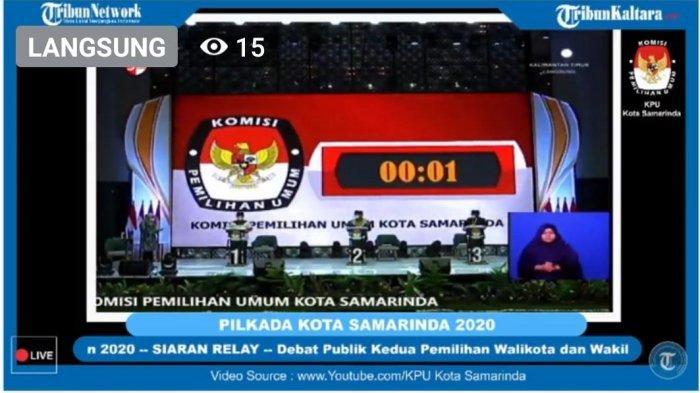 Tangkapan layar suasana pelaksanaan debat calon wakil Walikota Samarinda di hotel Mercure Samarinda, Selasa (10/11/2020). TRIBUNKALTIM.CO/HO
