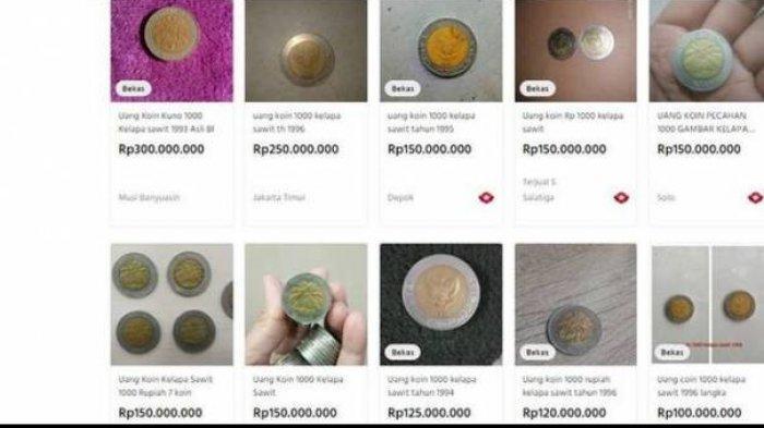Tangkapan layar uang logam 1000 kelapa sawit yang dijual ratusan juta