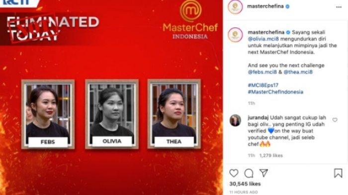 Tiga peserta yang masuk Black Team MasterChef Indonesia 8, Tabs, Thea, dan Olivia