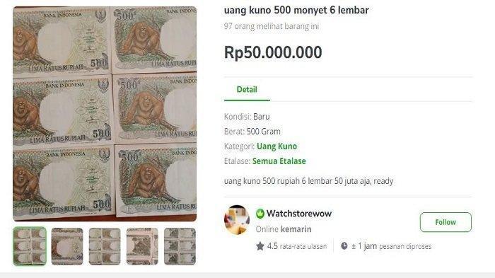 Uang Kertas Jadul Rp 500 Orang Utan Ini Dihargai Rp 50 Juta di Toko Online