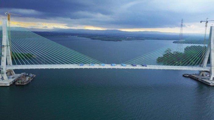 Jembatan Pulau Balang saat ini tengah dilakukan uji beban dengan 61 Truk yang disiapkan Balai Pelaksana Jalan Nasional (BPJN) Kaltim. HO/ BPJN