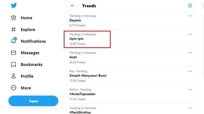 Upin Ipin trending topic Twitter, Rabu (17/2/2021).
