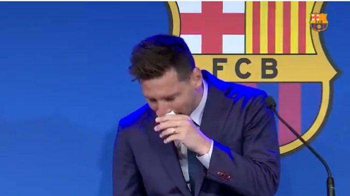 TRENDING TWITTER Detik-detik Lionel Messi Menangis Berpisah dengan Barcelona, 'Ini Sangat Sulit'