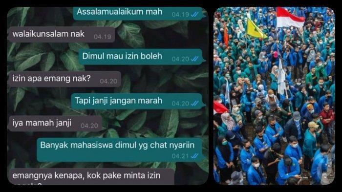 VIRAL Chat Mahasiswa Izin Ikut Demo Tolak UU Cipta Kerja, Salam Mamah untuk DPR, Banyak Istighfar
