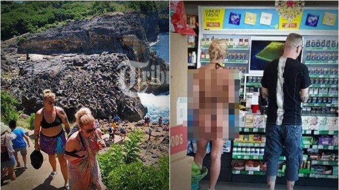Viral di Facebook & WhatsApp, Aksi Santuy Turis Bule di Bali Nyaris Telanjang Belanja di Minimarket