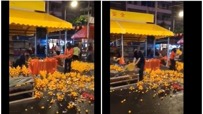 VIRAL Video Warga China Banting Jeruk ke Jalan Karena Tak Laku,Kominfo Angkat Bicara,Ini Faktanya