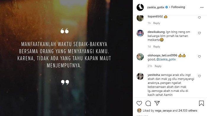 Zaskia Gotik posting foto menyinggung soal maut