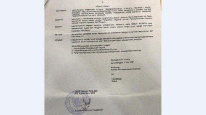 Surat Keputusan (SK) diduga terkait penonaktifan 74 pegawai KPK.