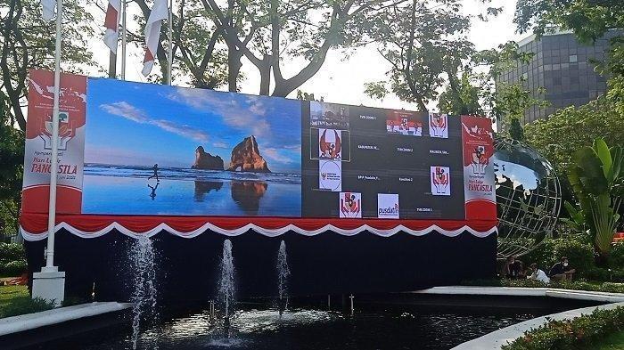 Suasana Gedung Pancasila sehari sebelum hari kelahiran Pancasila yang jatuh pada Selasa 1 Juni 2021.