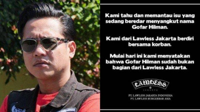 Gofar Hilman Didepak dari Lawless Jakarta Pasca Mencuatnya Kasus Dugaan Pelecehan Seksual