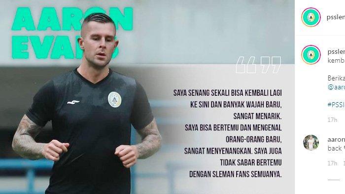Aaron Evans bakal memperkuat PSS Sleman vs Persela Lamongan, Minggu 28 Maret 2021 mulai pukul 15.15 WIB.