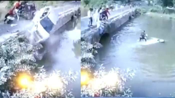 Lihat Aksi Heroik Pria Selamatkan Bayi dalam  Mobil yang Tenggelam usai  Tabrakan