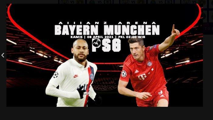 Jadwal Bayern Munchen vs PSG Babak 8 Besar Liga Champions 2021 Leg Pertama, Live SCTV
