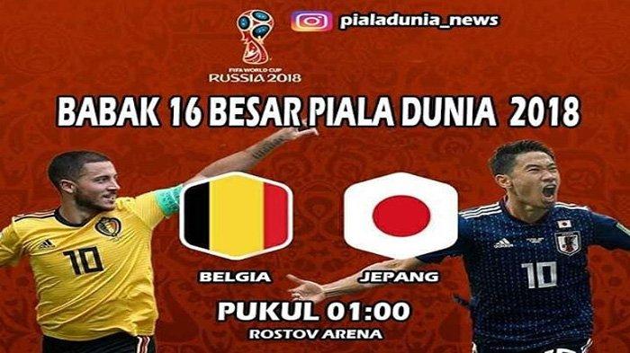 LIVE Trans TV Pukul 01.00 WIB Malam Ini, Belgia vs Jepang, Lukaku dkk Diunggulkan