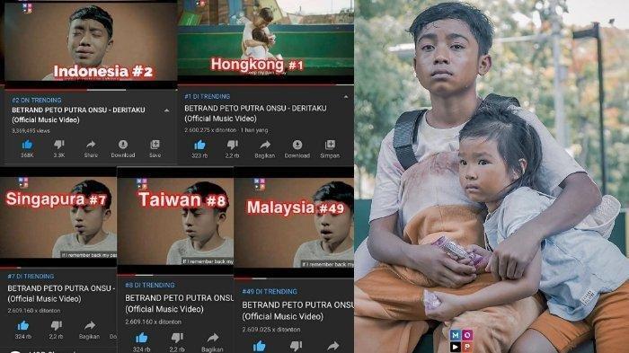 MANTAP, Baru 3 Hari Dirilis,Lagu 'Deritaku' Betrand Peto Trending di 5 Negara,Anak Ruben Onsu Dipuji