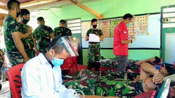 Bhakti Sosial Satgas Pamtas RI-RDTL Yonif RK 744/SYB Laksanakan Donor Darah