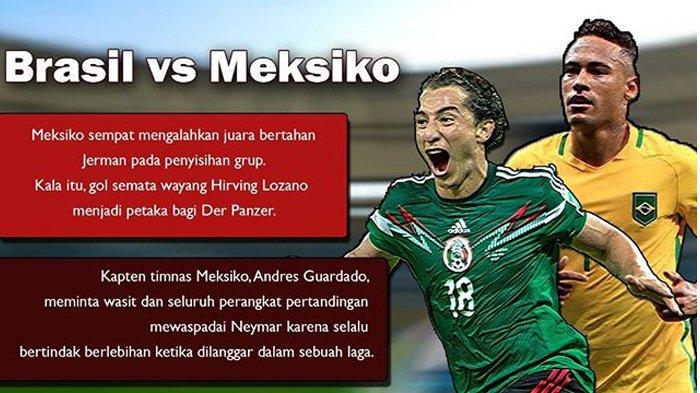 LIVE Trans TV Pukul 21.00 WIB, Ini Prediksi Pertandingan Brazil vs Meksiko Malam Ini
