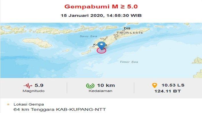 BREAKING NEWS: Kupang Dilanda Gempa 5,9 SR, Tak Berpotensi Tsunami